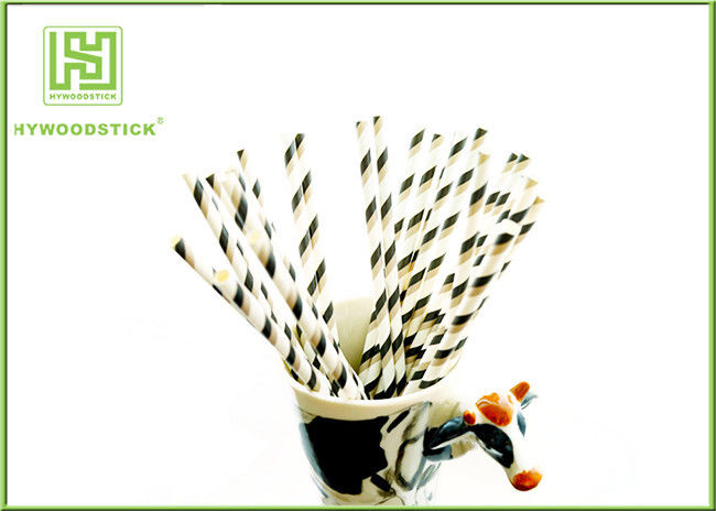 Black And White Bulk Party Paper Straws Decorations Usage Environmentally Friendly